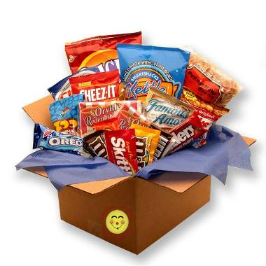 In the Pantry :  college gift basket in the pantry snack basket snack gift basket