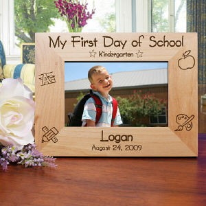 "Your Personalized First Day of School Picture Frame measures 8 3/4"" x 6 3/4"" and holds a 3½"" x 5"" or 4"" x 6"" photo. Easel back allows for desk display. Includes FREE Personalization. Personalize your First Day of School Picture Frame with any school year, name and date."