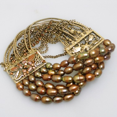 	 Golden Bronze Pearl Bracelet