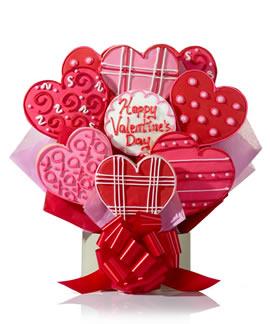 Fancy Heart Valentine Cookie Bouquet