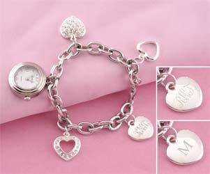 Heart Watch Charm Bracelet