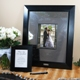 Our Signature Picture Frame with Engraved Photo Mat is one of our most unique keepsakes to date! It combines contemporary style to an age old wedding tradition. Fashioned with an ultra creative metal photo mat, this statuesque wooden frame not only holds one of your favorite 8 x 10 pictures, but it also doubles as a guest book alternative, allowing all your friends and family to sign their names and well wishes. Personalized free of charge, this fabulous frame and signature mat will be a keepsake that youll treasure for years to come. And dont let this signature memento go to waste. It also works famously for bridal showers, anniversaries, graduations, going away parties and every special occasion in between! Set includes wooden picture frame, micro fiber polishing mat, guest instruction card and signature engraving scribe. Smaller frame shown with instruction card is not included.