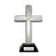 "This stunning crystal cross makes a lovely gift for any religious occasion, and features a 9"" tall clear crystal cross on a rectangular black crystal base. This great baptism gift idea can be fully customized, with up to two lines of text laser engraved on the base plate, perfect for a name and date."