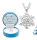 "Product Features Include: Genuine Austrian Crystals Sterling Silver Finish Keepsake Snowflake Box 16"" chain plus 2"" extender"