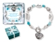 Silver like and aqua crystal beads decorate this special Aunt Bracelet. A heart charm with Aunt in the middle hangs next to the toggle.