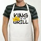 "Is someone you know the King of the Grill. Our King of the Grill apron gets personalized with their name and makes a great gift idea any time of year. Apron is a white full length, 65/35 cotton/poly twill fabric apron with adjustable neck and matching fabric ties. Machine washable. This custom bib apron measures 28"" x 30"" and features 3 center pockets for convenient storage making grilling easy to stay organized."