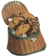 Old Fashion fly fishing basket holding 6 cookies & 6 Brownies Baked Fresh Daily, Baked and Shipped to Order, No Preservatives or Artificial Flavors, As Seen on Food Networks Food Finds, and Each Cookie Weights Approximately 3 Ounces Each